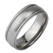 8mm Titanium Double Milgrain Grooved Matt Wedding Ring
